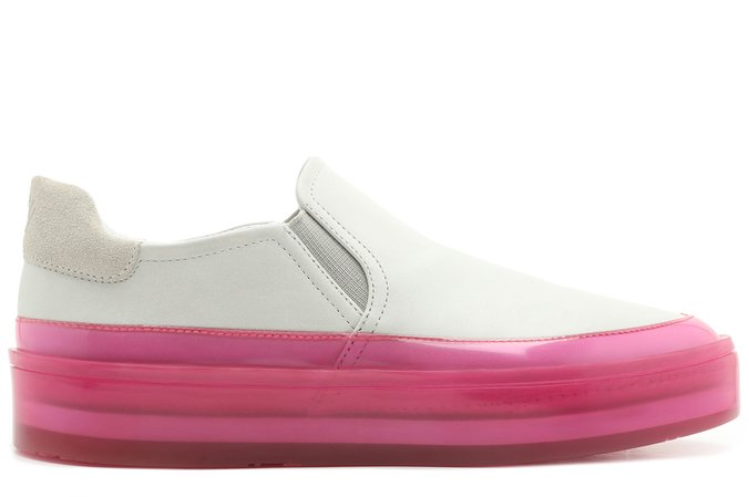 Tênis Branco e Rosa Colored Slip On Feminino