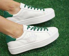 Tênis Venice Eye Couro Branco e Verde