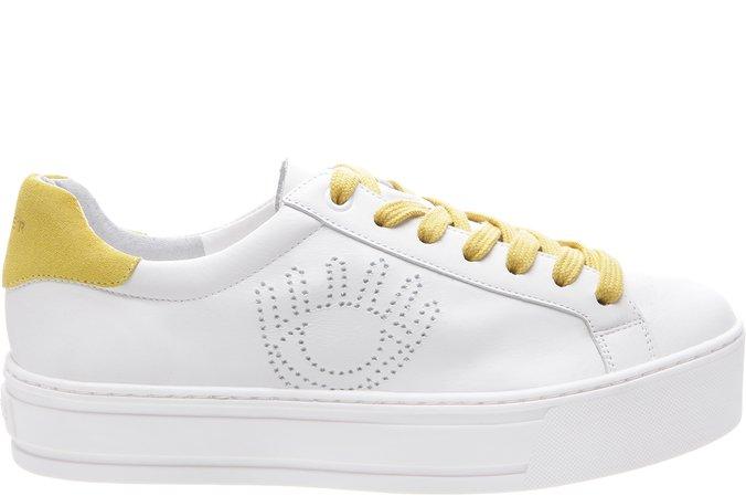 Tênis Venice Eye Couro Branco e Amarelo