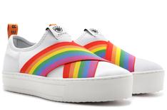 Tênis Branco Malibu Slip On Neoprene Rainbow