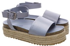 Sandália Flatform Juta Couro Air Blue
