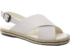 Flat Sandal Espadrille Couro Marfim